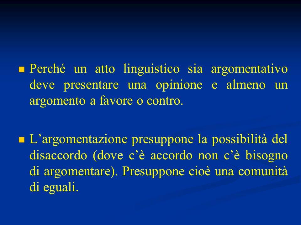 Perché un atto linguistico sia argomentativo deve presentare una opinione e almeno un argomento a favore o contro.