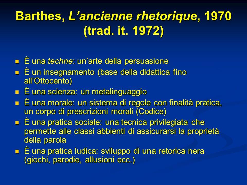 Barthes, Lancienne rhetorique, 1970 (trad.it.