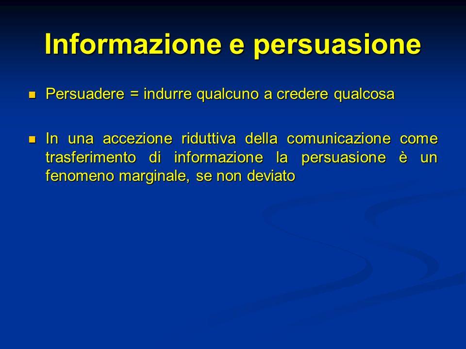 Informazione e persuasione Persuadere = indurre qualcuno a credere qualcosa Persuadere = indurre qualcuno a credere qualcosa In una accezione riduttiva della comunicazione come trasferimento di informazione la persuasione è un fenomeno marginale, se non deviato In una accezione riduttiva della comunicazione come trasferimento di informazione la persuasione è un fenomeno marginale, se non deviato