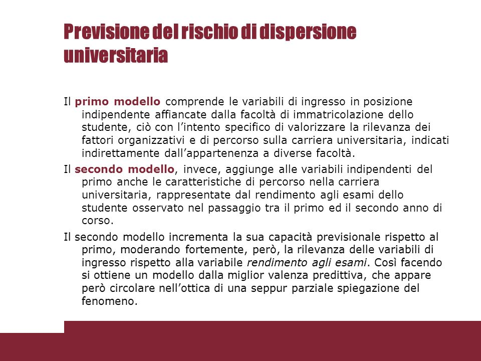 Previsione del rischio di dispersione universitaria