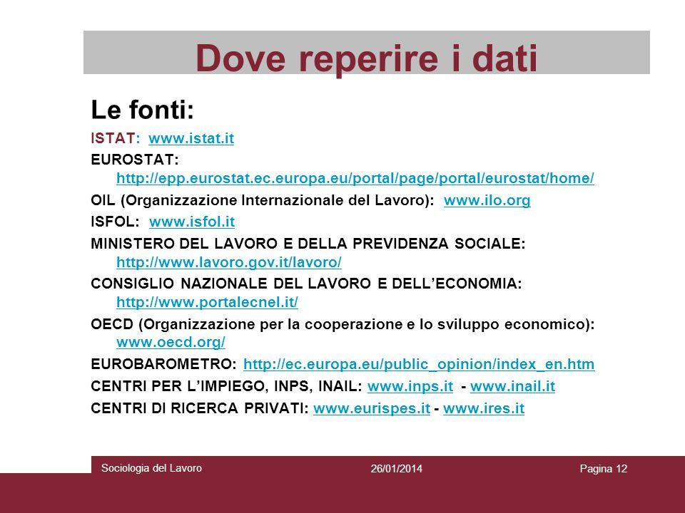 Dove reperire i dati Le fonti: ISTAT: www.istat.it EUROSTAT: http://epp.eurostat.ec.europa.eu/portal/page/portal/eurostat/home/ OIL (Organizzazione In