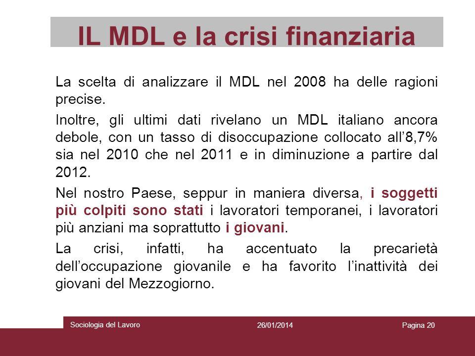 IL MDL e la crisi finanziaria La scelta di analizzare il MDL nel 2008 ha delle ragioni precise. Inoltre, gli ultimi dati rivelano un MDL italiano anco