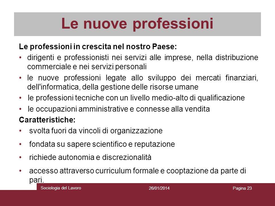 Le nuove professioni Le professioni in crescita nel nostro Paese: dirigenti e professionisti nei servizi alle imprese, nella distribuzione commerciale