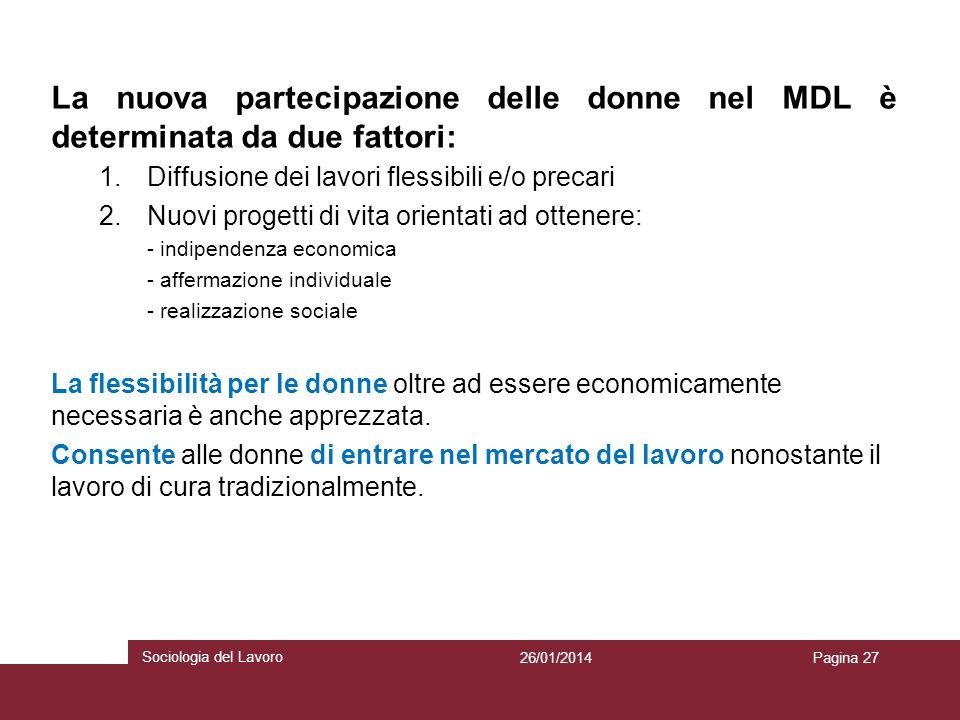 La nuova partecipazione delle donne nel MDL è determinata da due fattori: 1.Diffusione dei lavori flessibili e/o precari 2.Nuovi progetti di vita orie