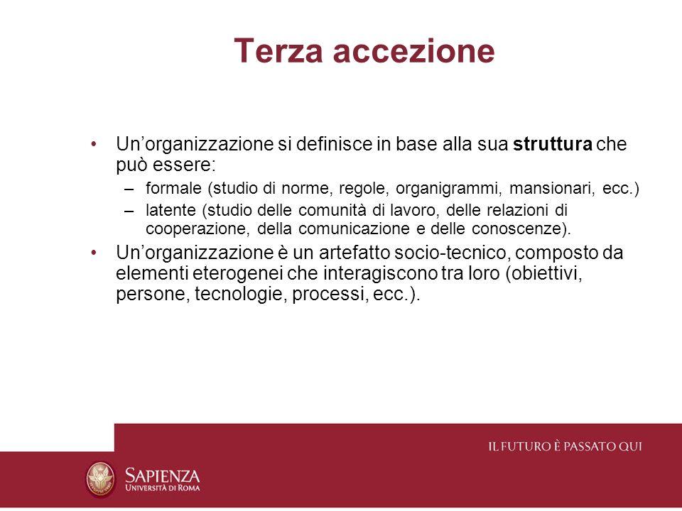 Terza accezione Unorganizzazione si definisce in base alla sua struttura che può essere: –formale (studio di norme, regole, organigrammi, mansionari, ecc.) –latente (studio delle comunità di lavoro, delle relazioni di cooperazione, della comunicazione e delle conoscenze).
