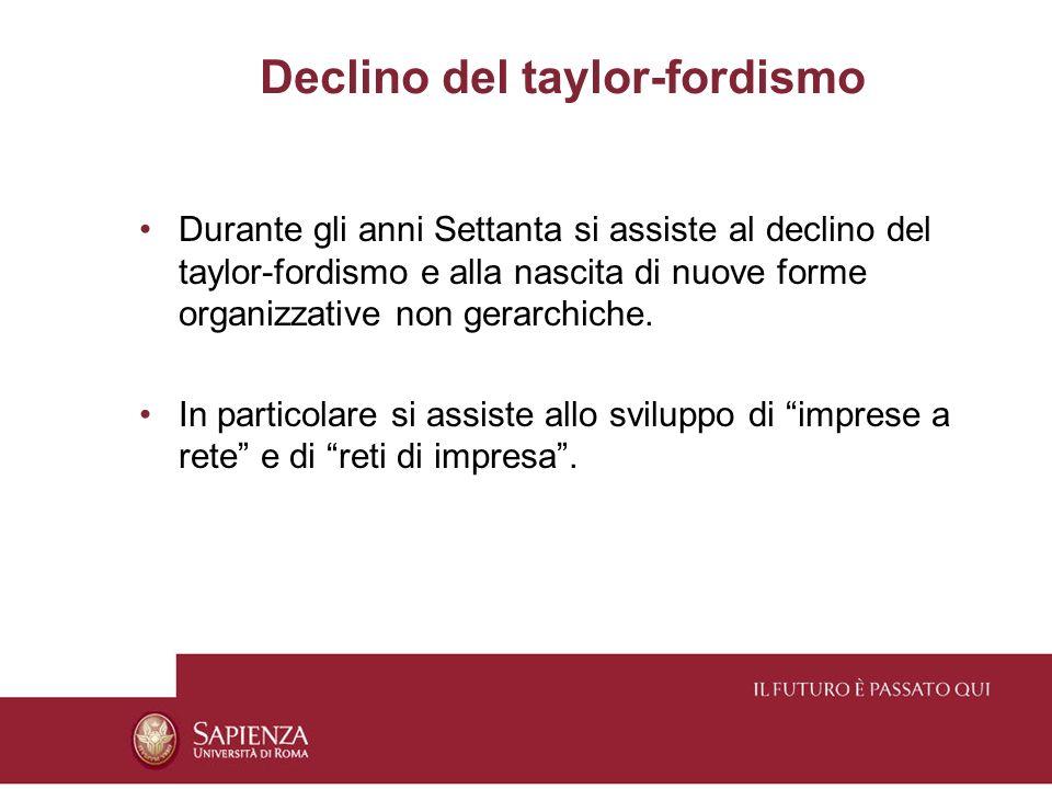 Declino del taylor-fordismo Durante gli anni Settanta si assiste al declino del taylor-fordismo e alla nascita di nuove forme organizzative non gerarchiche.