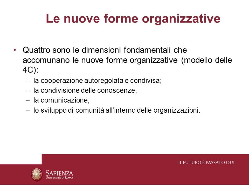 Le nuove forme organizzative Quattro sono le dimensioni fondamentali che accomunano le nuove forme organizzative (modello delle 4C): –la cooperazione autoregolata e condivisa; –la condivisione delle conoscenze; –la comunicazione; –lo sviluppo di comunità allinterno delle organizzazioni.