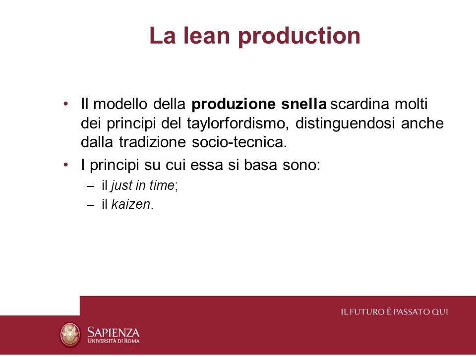 La lean production Il modello della produzione snella scardina molti dei principi del taylorfordismo, distinguendosi anche dalla tradizione socio-tecnica.