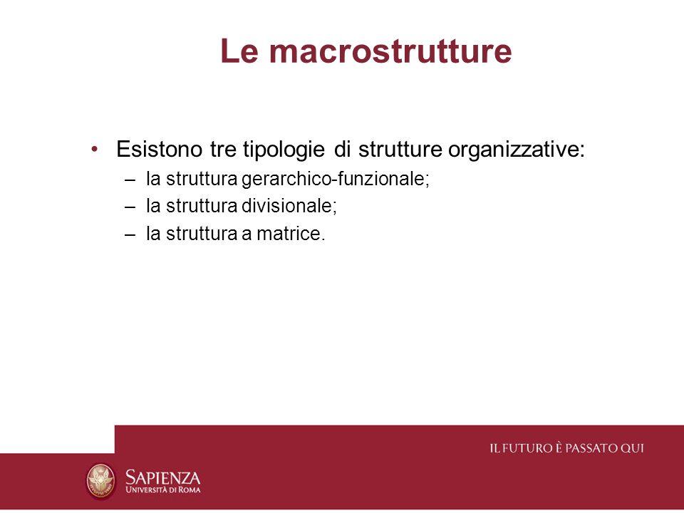 Le macrostrutture Esistono tre tipologie di strutture organizzative: –la struttura gerarchico-funzionale; –la struttura divisionale; –la struttura a matrice.