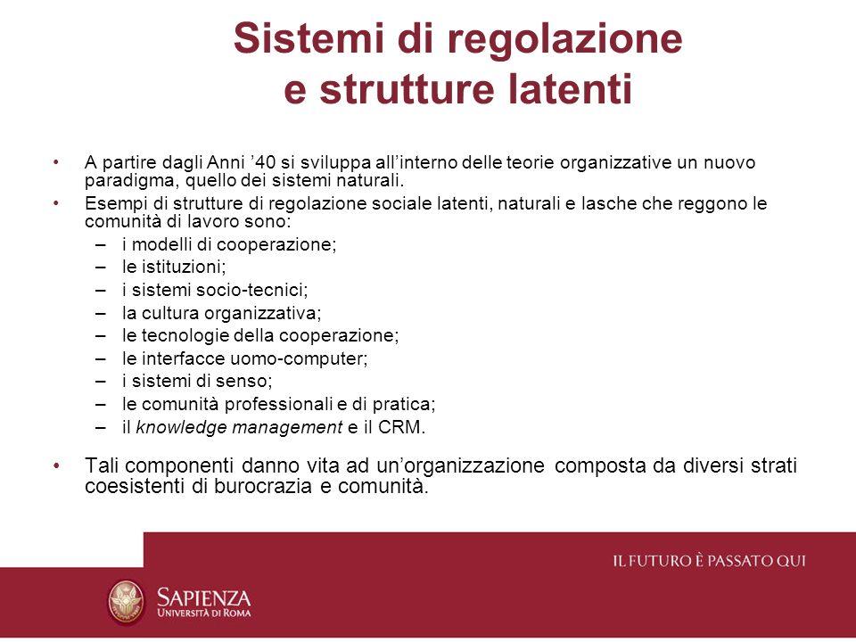 Sistemi di regolazione e strutture latenti A partire dagli Anni 40 si sviluppa allinterno delle teorie organizzative un nuovo paradigma, quello dei sistemi naturali.