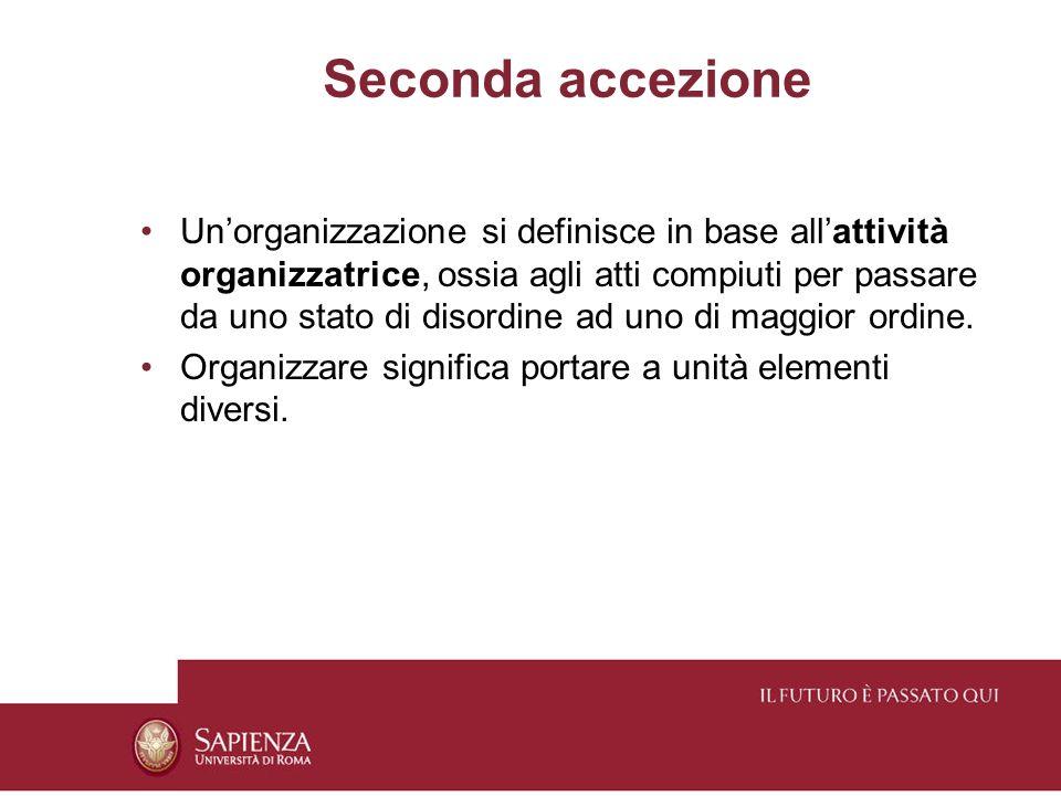 Una definizione di organizzazione Lorganizzazione è il modello delle relazioni normative, tecniche, procedurali, sociali, valoriali, comunicative stabilite intenzionalmente da/fra gli uomini per agire in modo adeguato a raggiungere i fini.