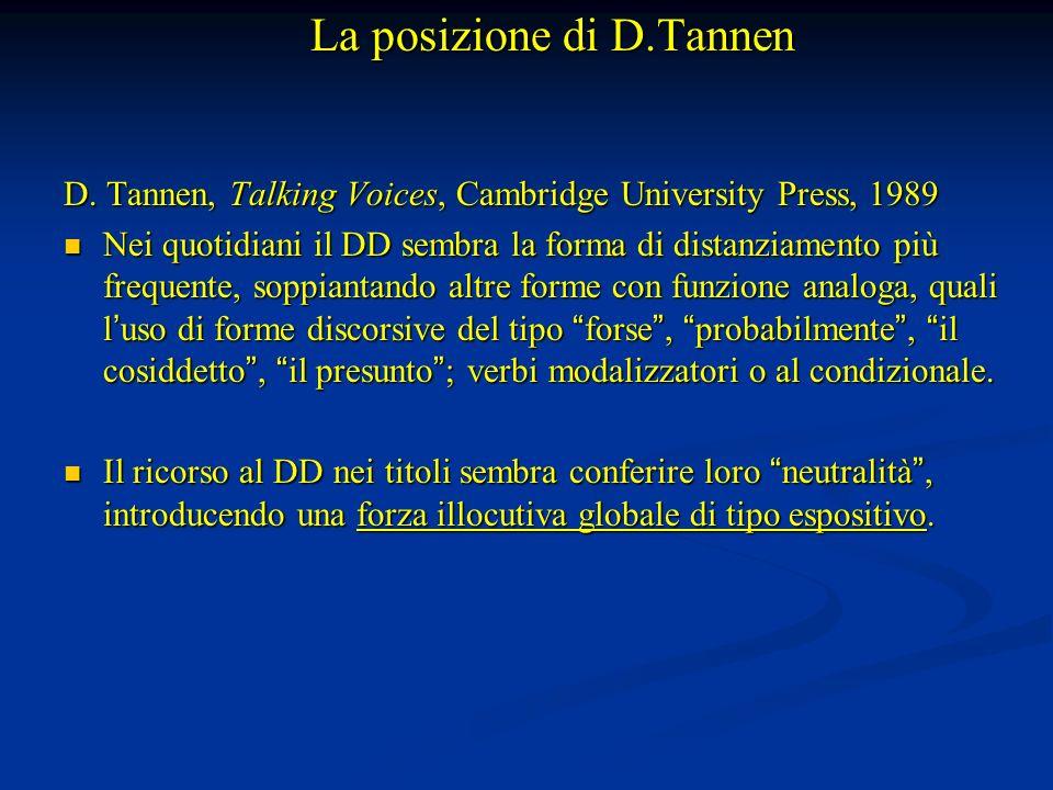 La posizione di D.Tannen D. Tannen, Talking Voices, Cambridge University Press, 1989 Nei quotidiani il DD sembra la forma di distanziamento più freque