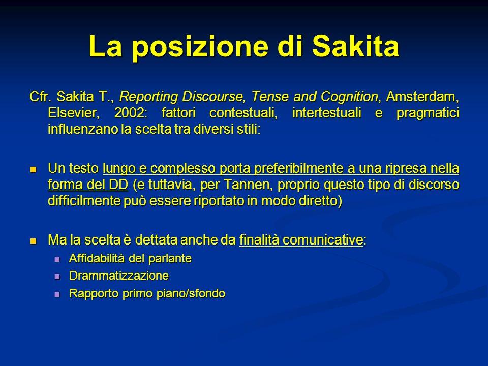 La posizione di Sakita Cfr. Sakita T., Reporting Discourse, Tense and Cognition, Amsterdam, Elsevier, 2002: fattori contestuali, intertestuali e pragm