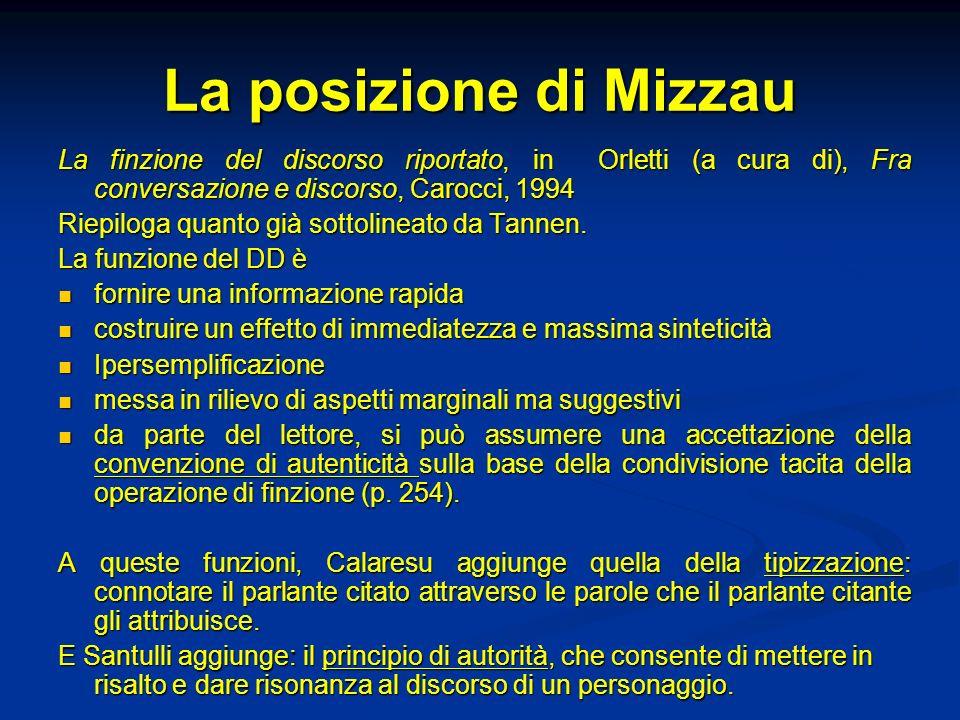 La posizione di Mizzau La finzione del discorso riportato, in Orletti (a cura di), Fra conversazione e discorso, Carocci, 1994 Riepiloga quanto già so