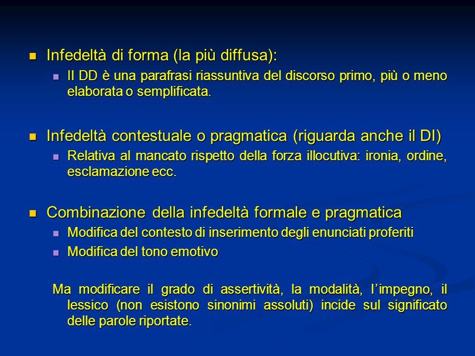 Infedeltà di forma (la più diffusa): Infedeltà di forma (la più diffusa): Il DD è una parafrasi riassuntiva del discorso primo, più o meno elaborata o