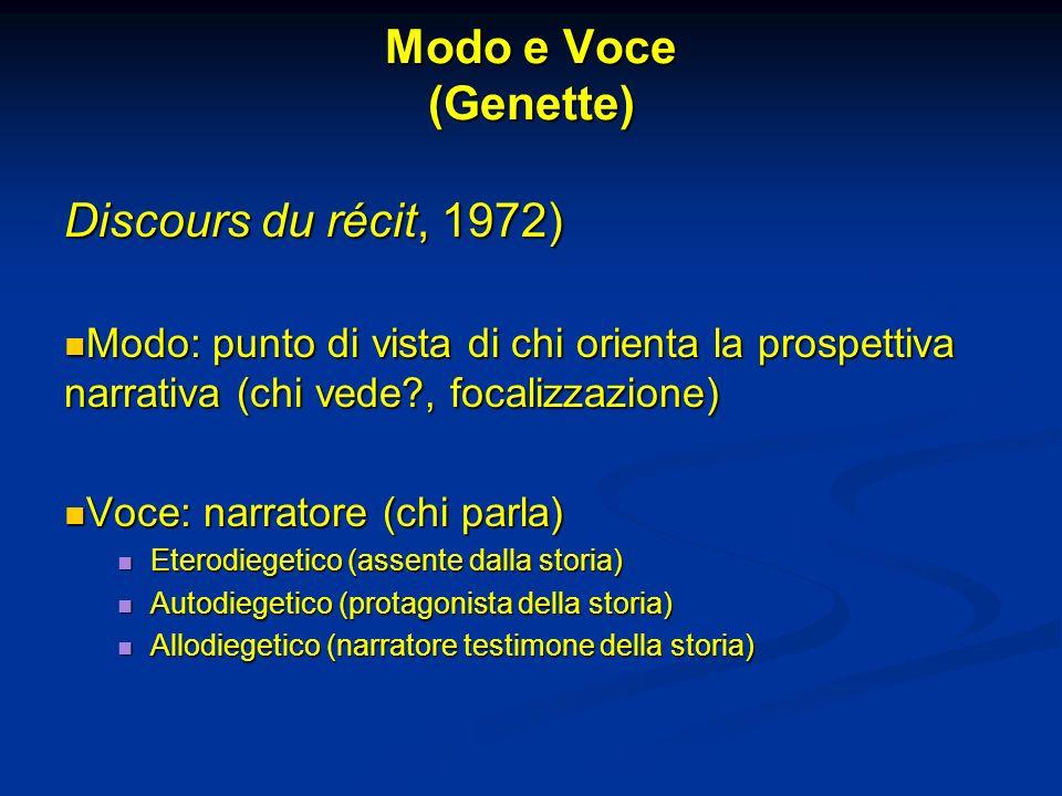 Modo e Voce (Genette) Discours du récit, 1972) Modo: punto di vista di chi orienta la prospettiva narrativa (chi vede?, focalizzazione) Modo: punto di