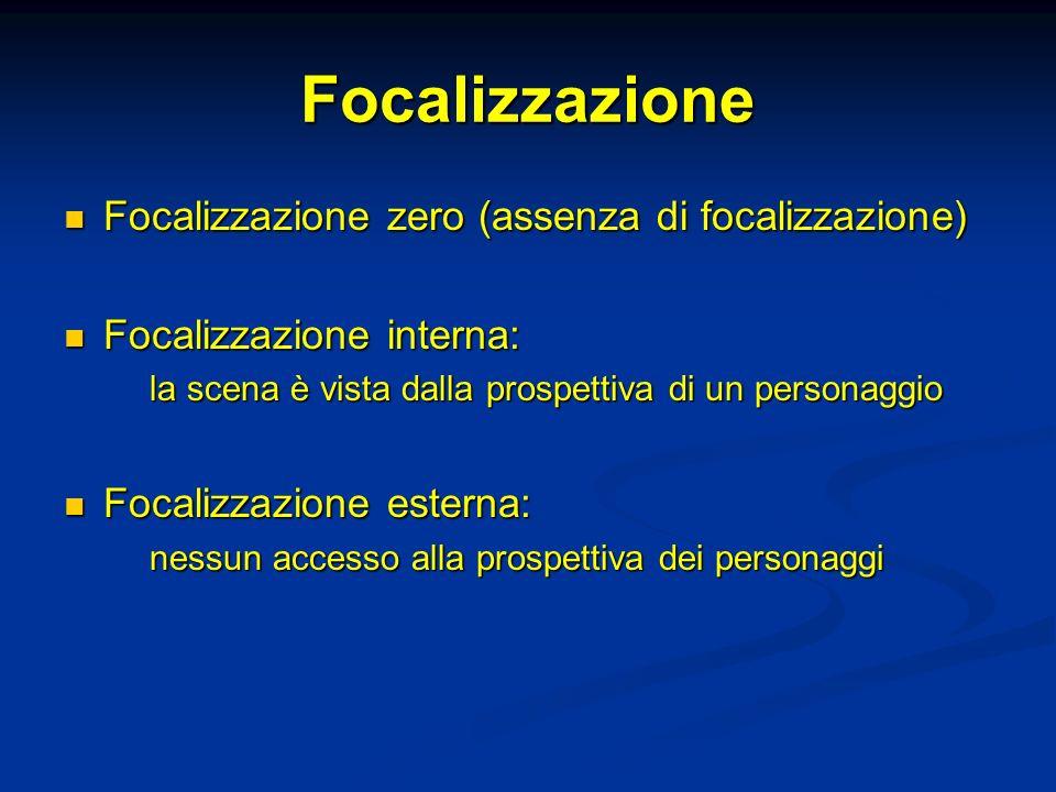 Focalizzazione Focalizzazione zero (assenza di focalizzazione) Focalizzazione zero (assenza di focalizzazione) Focalizzazione interna: Focalizzazione