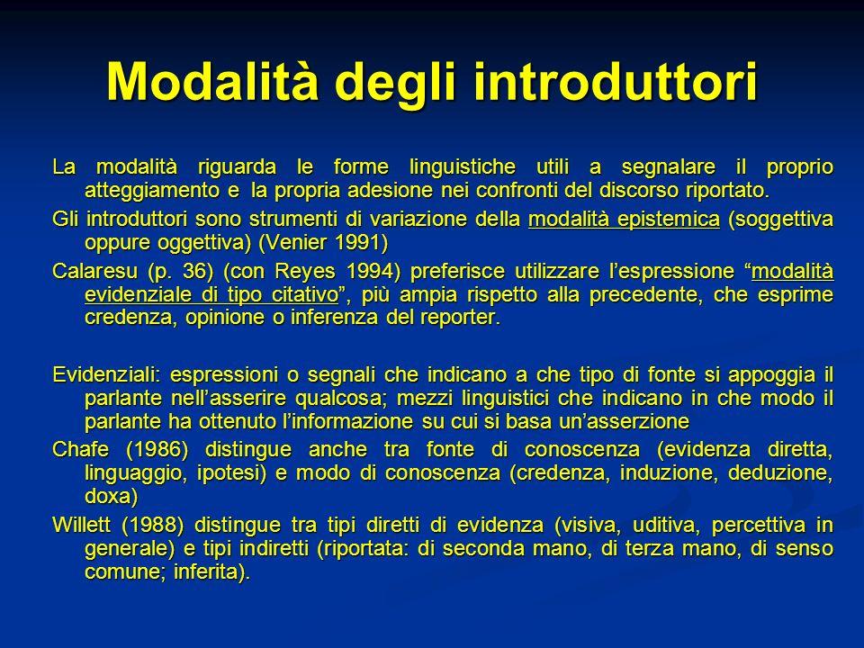 Modalità degli introduttori La modalità riguarda le forme linguistiche utili a segnalare il proprio atteggiamento e la propria adesione nei confronti