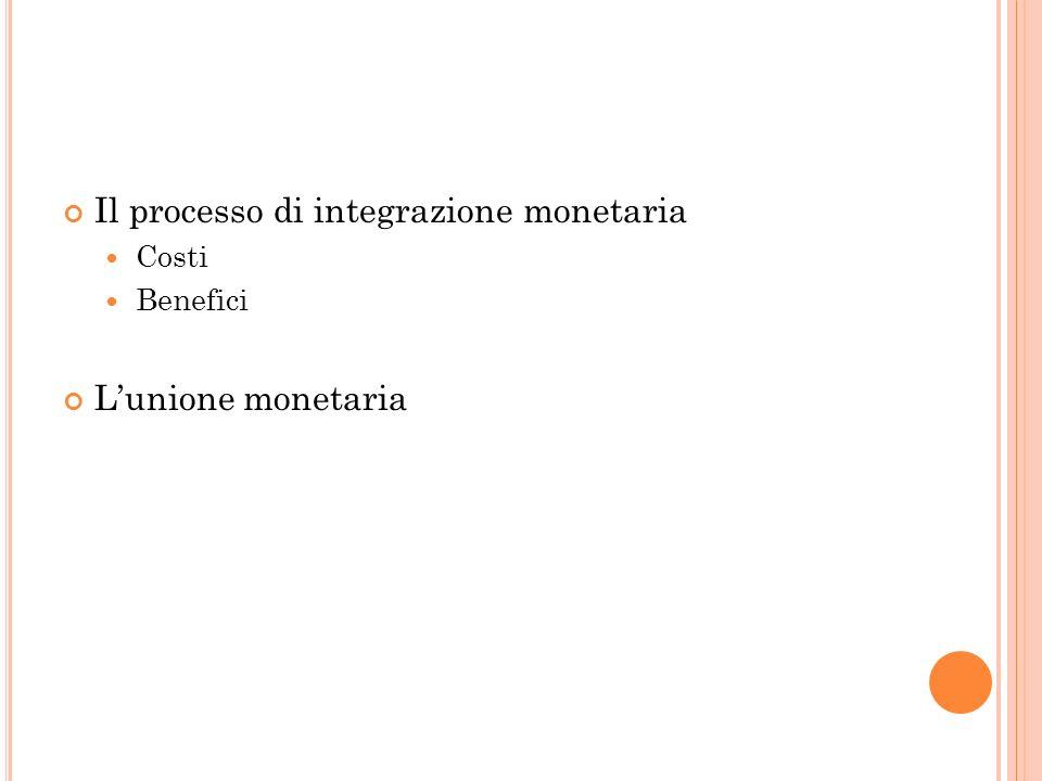 Il processo di integrazione monetaria Costi Benefici Lunione monetaria