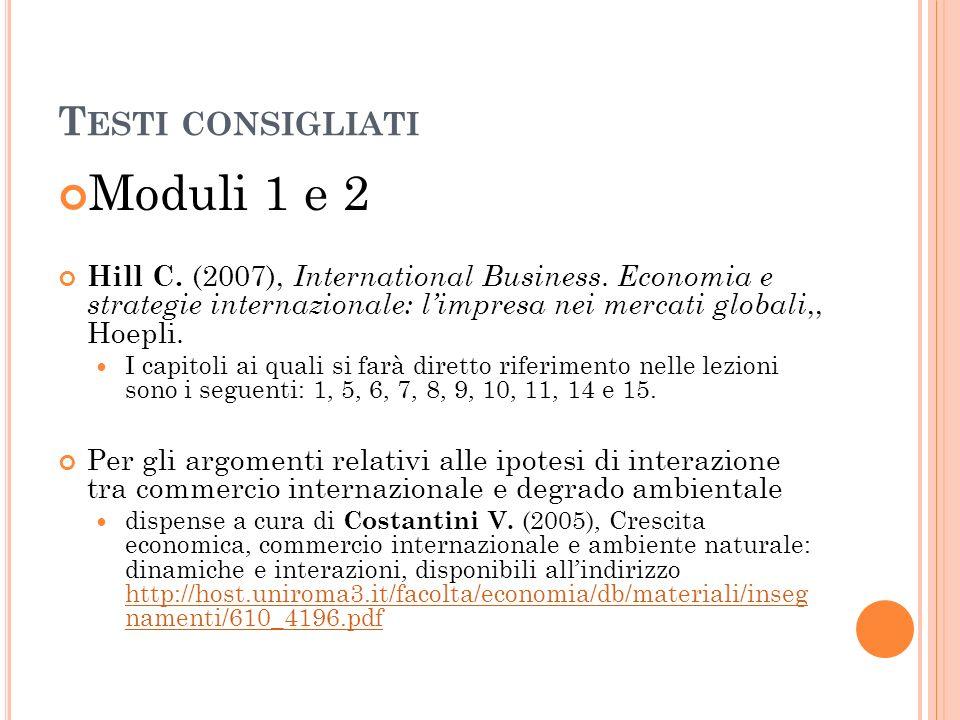 T ESTI CONSIGLIATI Modulo 3 Imbriani C., A.Lopes (2013), Macroeconomia.