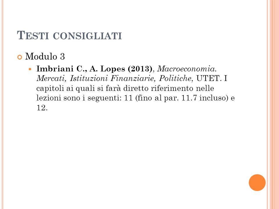 T ESTI CONSIGLIATI Modulo 3 Imbriani C., A. Lopes (2013), Macroeconomia. Mercati, Istituzioni Finanziarie, Politiche, UTET. I capitoli ai quali si far