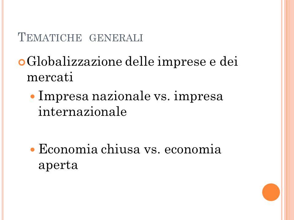 T EMATICHE GENERALI Globalizzazione delle imprese e dei mercati Impresa nazionale vs. impresa internazionale Economia chiusa vs. economia aperta