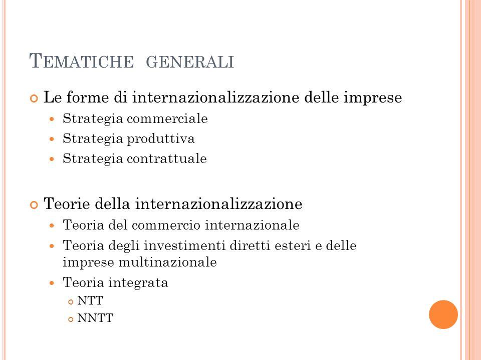 T EMATICHE GENERALI Le forme di internazionalizzazione delle imprese Strategia commerciale Strategia produttiva Strategia contrattuale Teorie della in
