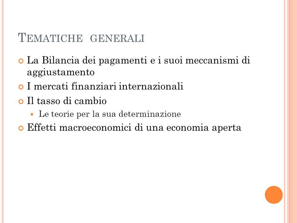 T EMATICHE GENERALI La Bilancia dei pagamenti e i suoi meccanismi di aggiustamento I mercati finanziari internazionali Il tasso di cambio Le teorie pe