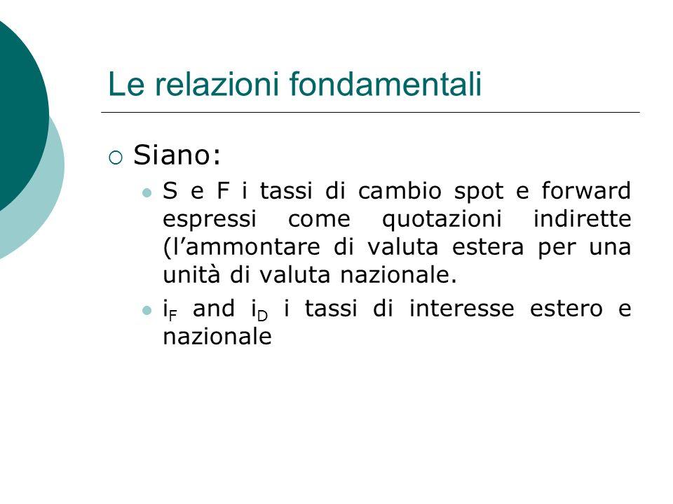 Le relazioni fondamentali Siano: S e F i tassi di cambio spot e forward espressi come quotazioni indirette (lammontare di valuta estera per una unità