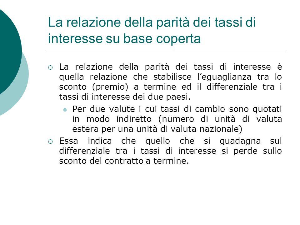 La relazione della parità dei tassi di interesse su base coperta La relazione della parità dei tassi di interesse è quella relazione che stabilisce le