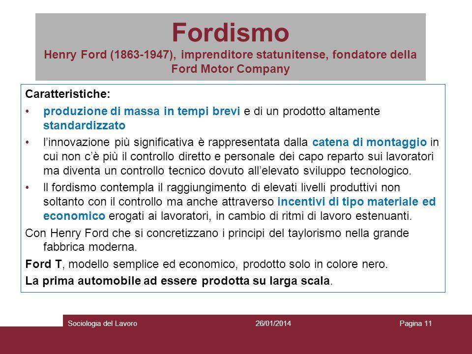 Fordismo Henry Ford (1863-1947), imprenditore statunitense, fondatore della Ford Motor Company Caratteristiche: produzione di massa in tempi brevi e d
