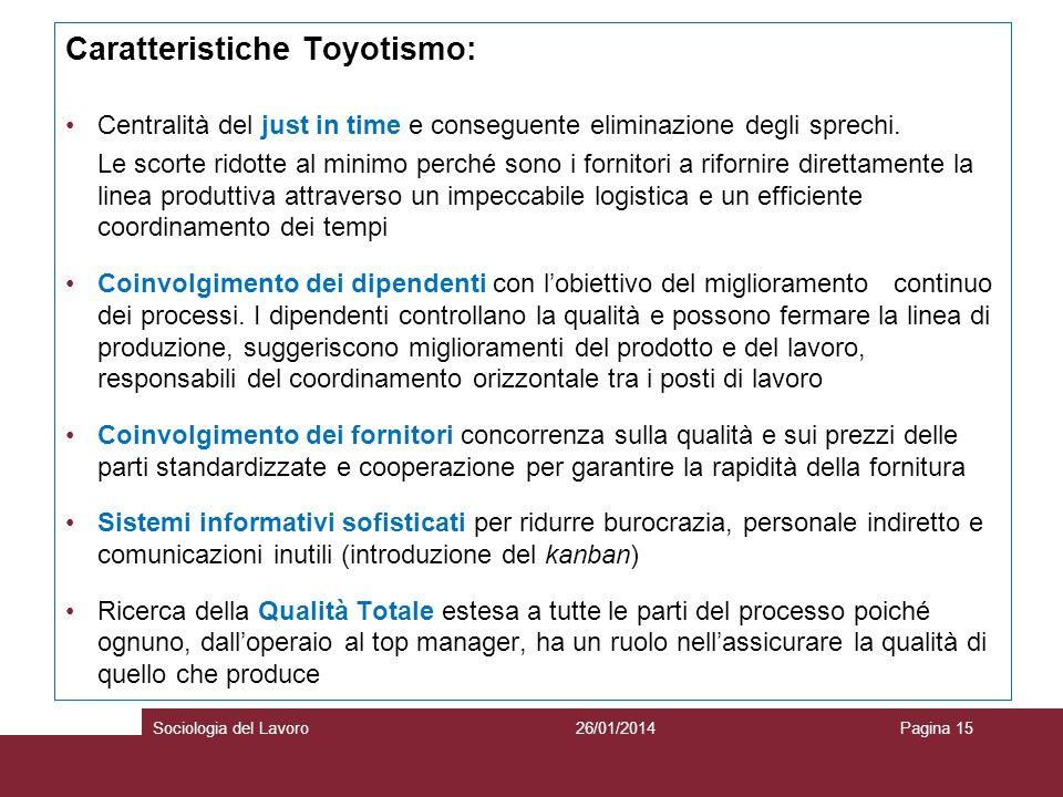 Caratteristiche Toyotismo: Centralità del just in time e conseguente eliminazione degli sprechi. Le scorte ridotte al minimo perché sono i fornitori a