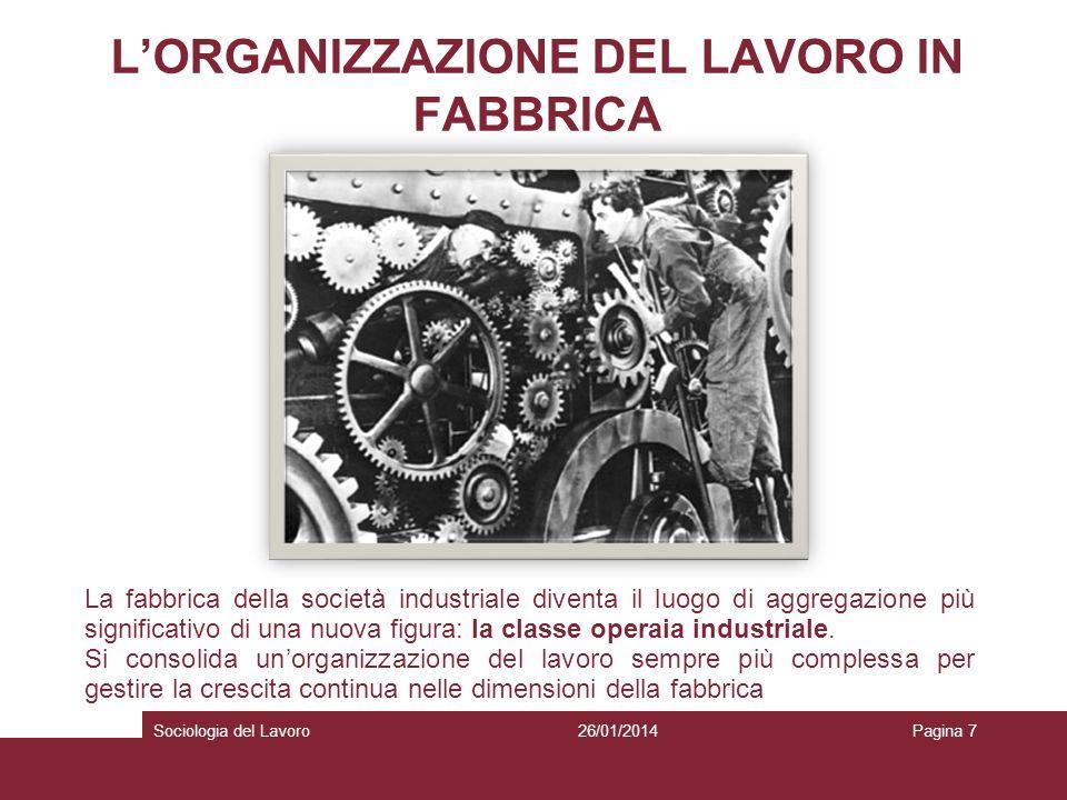 LORGANIZZAZIONE DEL LAVORO IN FABBRICA La fabbrica della società industriale diventa il luogo di aggregazione più significativo di una nuova figura: l