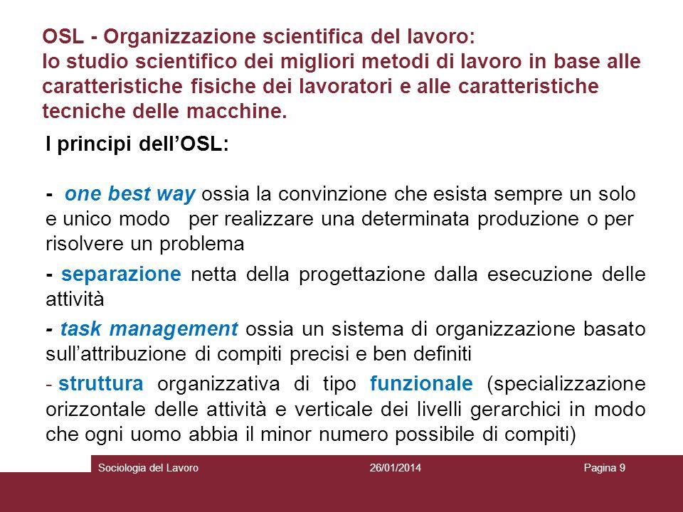 OSL - Organizzazione scientifica del lavoro: lo studio scientifico dei migliori metodi di lavoro in base alle caratteristiche fisiche dei lavoratori e