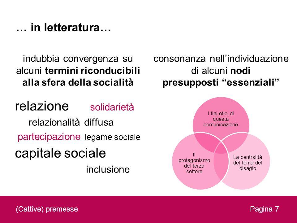 … in letteratura… indubbia convergenza su alcuni termini riconducibili alla sfera della socialità relazione solidarietà relazionalità diffusa partecip
