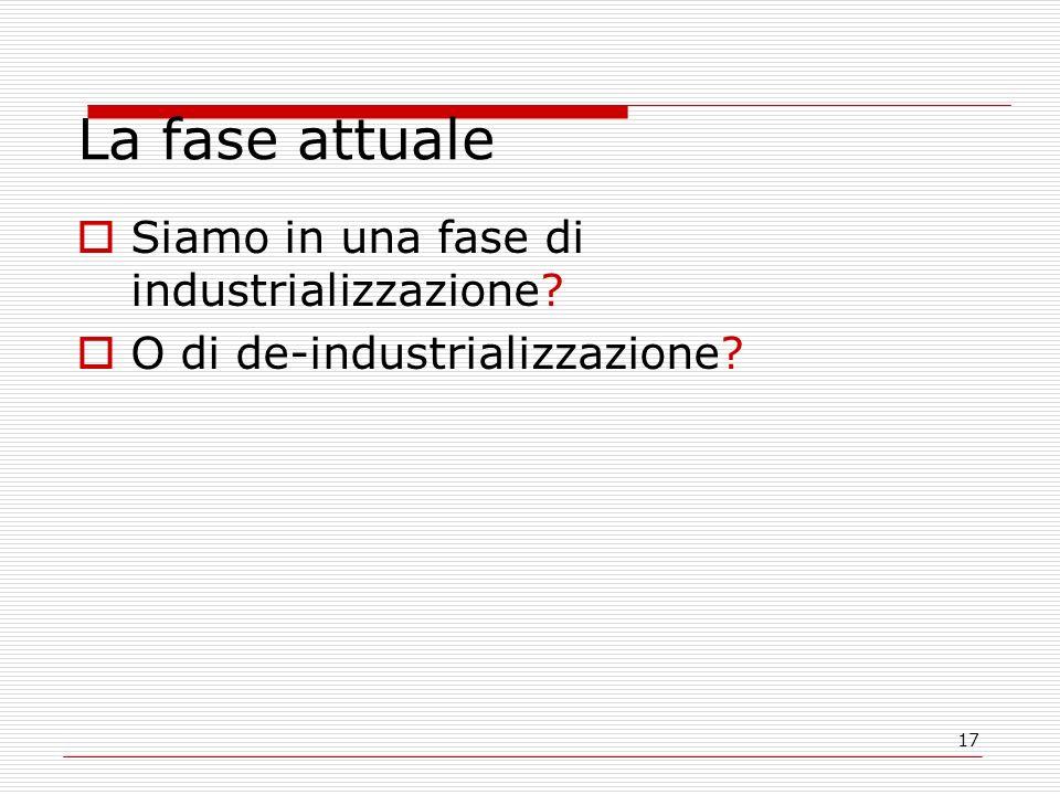 17 La fase attuale Siamo in una fase di industrializzazione O di de-industrializzazione