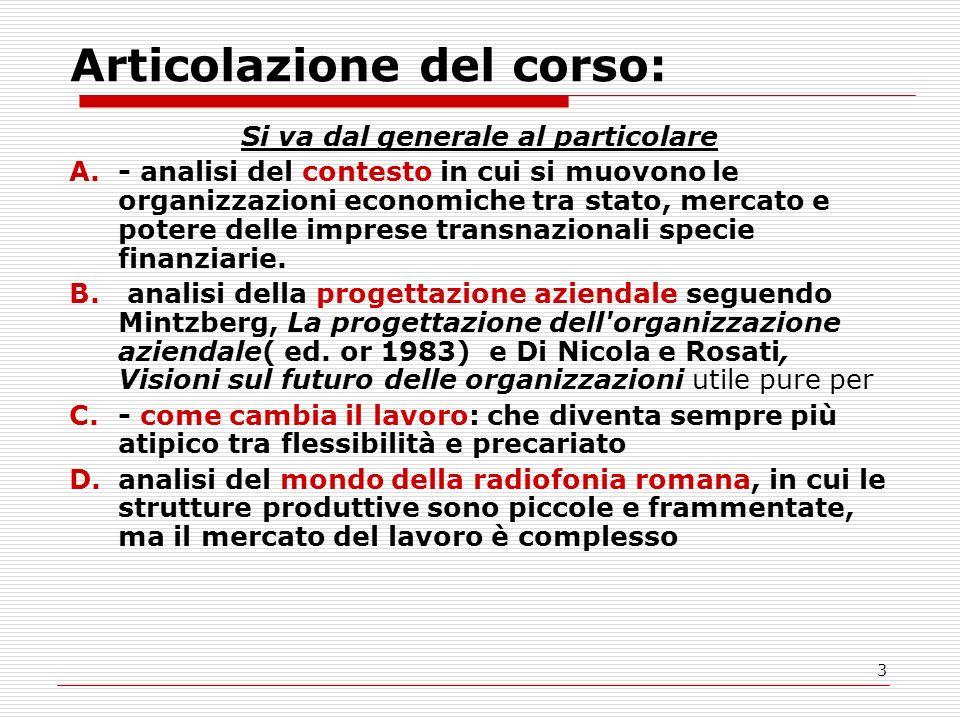 3 Articolazione del corso: Si va dal generale al particolare A.- analisi del contesto in cui si muovono le organizzazioni economiche tra stato, mercato e potere delle imprese transnazionali specie finanziarie.