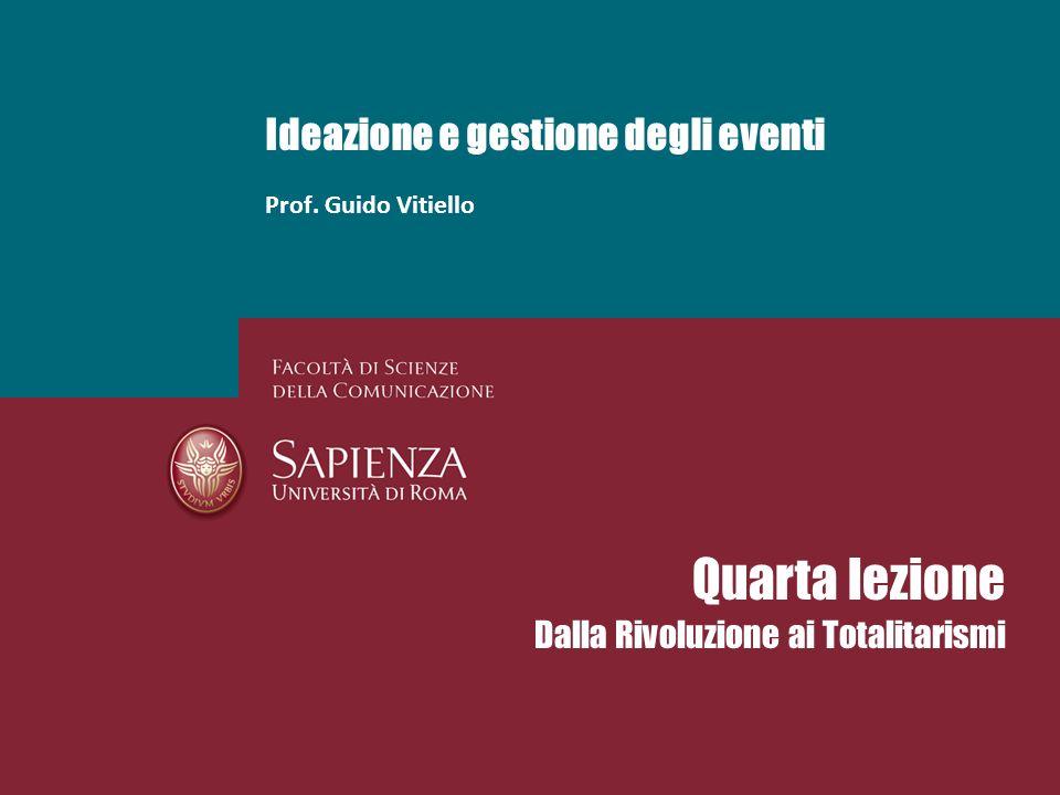 Ideazione e gestione degli eventi Prof. Guido Vitiello Quarta lezione Dalla Rivoluzione ai Totalitarismi