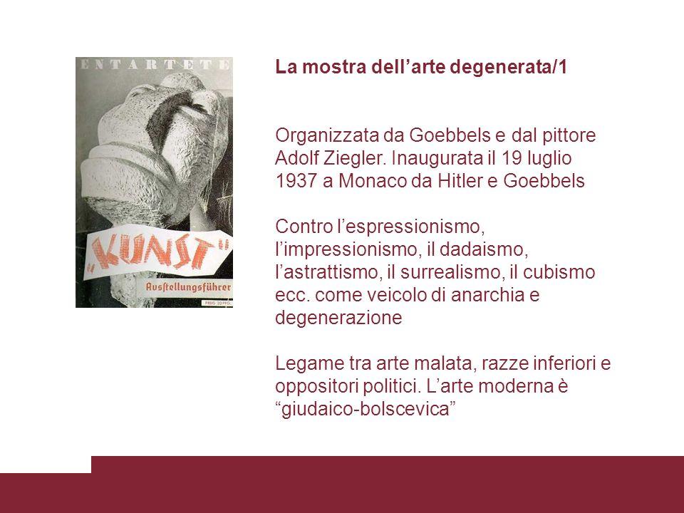 La mostra dellarte degenerata/1 Organizzata da Goebbels e dal pittore Adolf Ziegler. Inaugurata il 19 luglio 1937 a Monaco da Hitler e Goebbels Contro