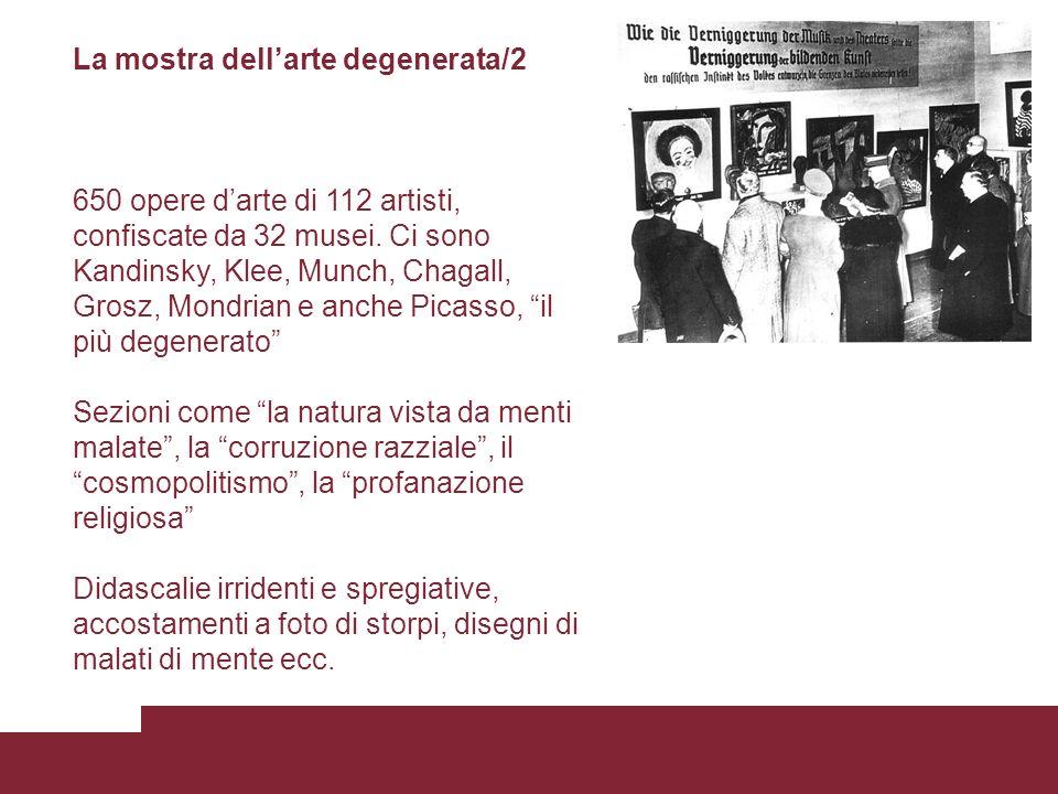 La mostra dellarte degenerata/2 650 opere darte di 112 artisti, confiscate da 32 musei. Ci sono Kandinsky, Klee, Munch, Chagall, Grosz, Mondrian e anc