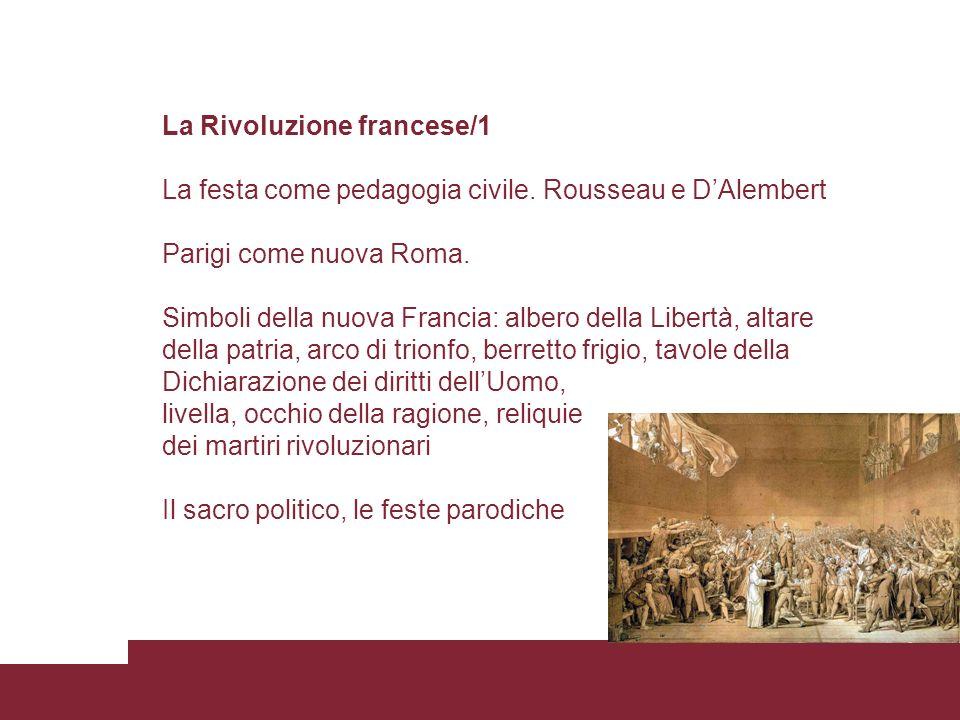 La Rivoluzione francese/1 La festa come pedagogia civile. Rousseau e DAlembert Parigi come nuova Roma. Simboli della nuova Francia: albero della Liber