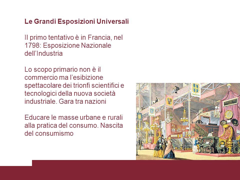 Le Grandi Esposizioni Universali Il primo tentativo è in Francia, nel 1798: Esposizione Nazionale dellIndustria Lo scopo primario non è il commercio m