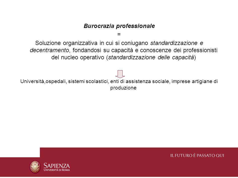 Burocrazia professionale = Soluzione organizzativa in cui si coniugano standardizzazione e decentramento, fondandosi su capacità e conoscenze dei prof