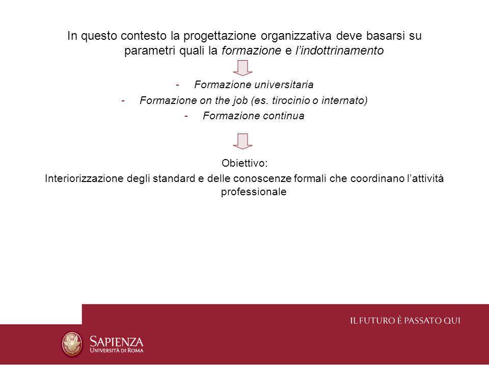 In questo contesto la progettazione organizzativa deve basarsi su parametri quali la formazione e lindottrinamento -Formazione universitaria -Formazio