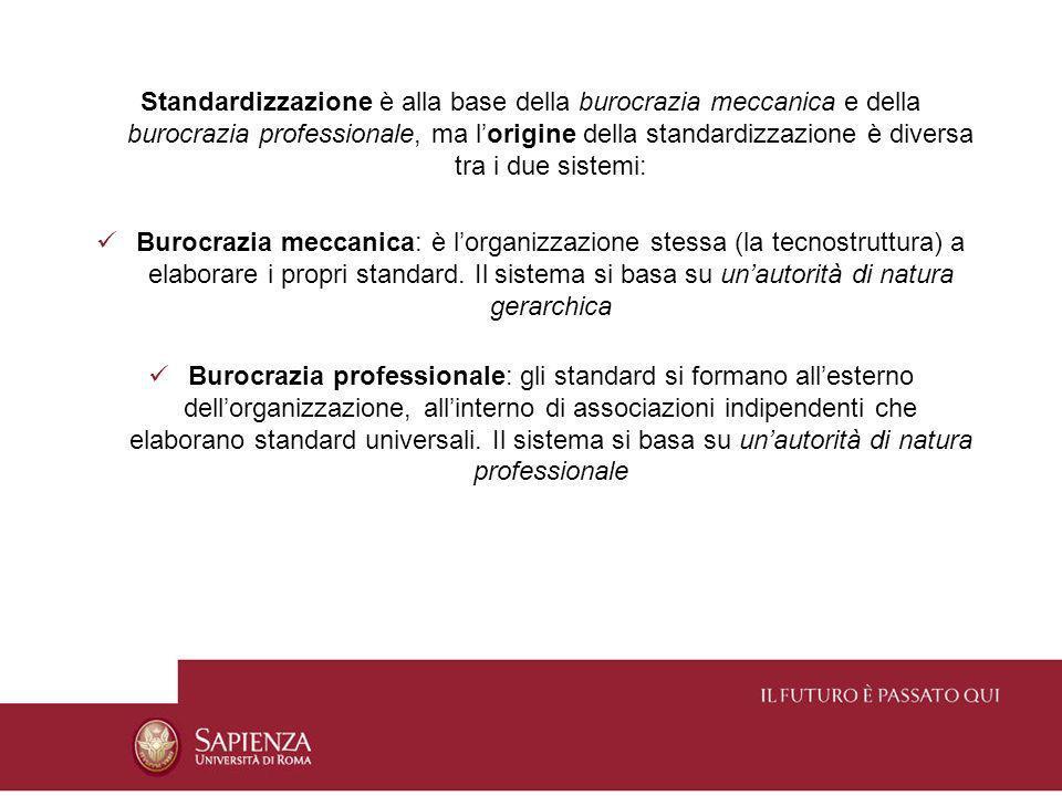 Standardizzazione è alla base della burocrazia meccanica e della burocrazia professionale, ma lorigine della standardizzazione è diversa tra i due sis