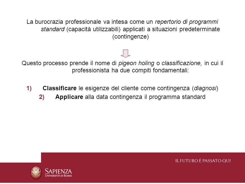 La burocrazia professionale va intesa come un repertorio di programmi standard (capacità utilizzabili) applicati a situazioni predeterminate (continge