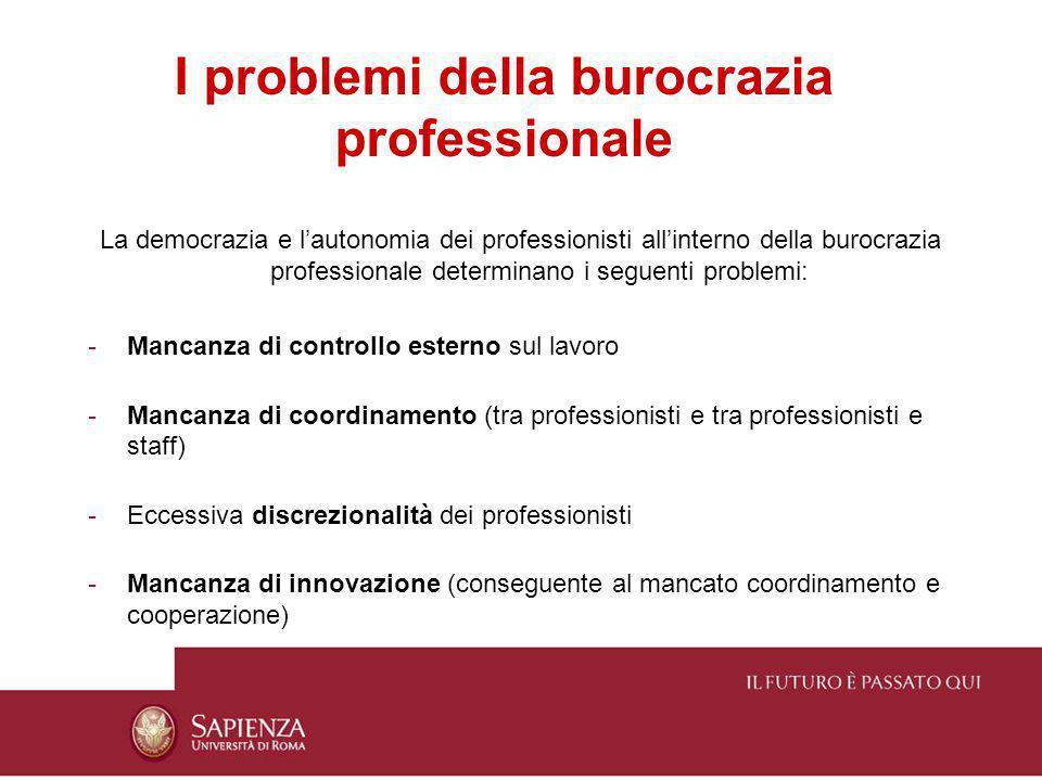 I problemi della burocrazia professionale La democrazia e lautonomia dei professionisti allinterno della burocrazia professionale determinano i seguen