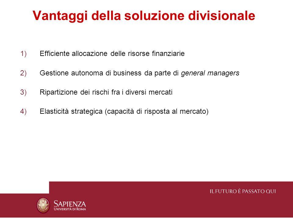 Vantaggi della soluzione divisionale 1)Efficiente allocazione delle risorse finanziarie 2)Gestione autonoma di business da parte di general managers 3