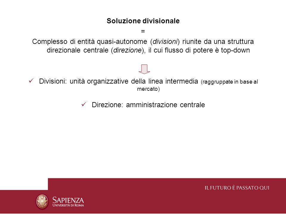 La soluzione divisionale si sviluppa in aziende di grandi dimensioni che operano in mercati diversi, e che per questo sono stimolate a creare unità distinte Sistema diffusosi dopo la Seconda Guerra Mondiale nella maggior parte delle più grandi imprese americane, e successivamente in Inghilterra, Germania, Francia e Italia