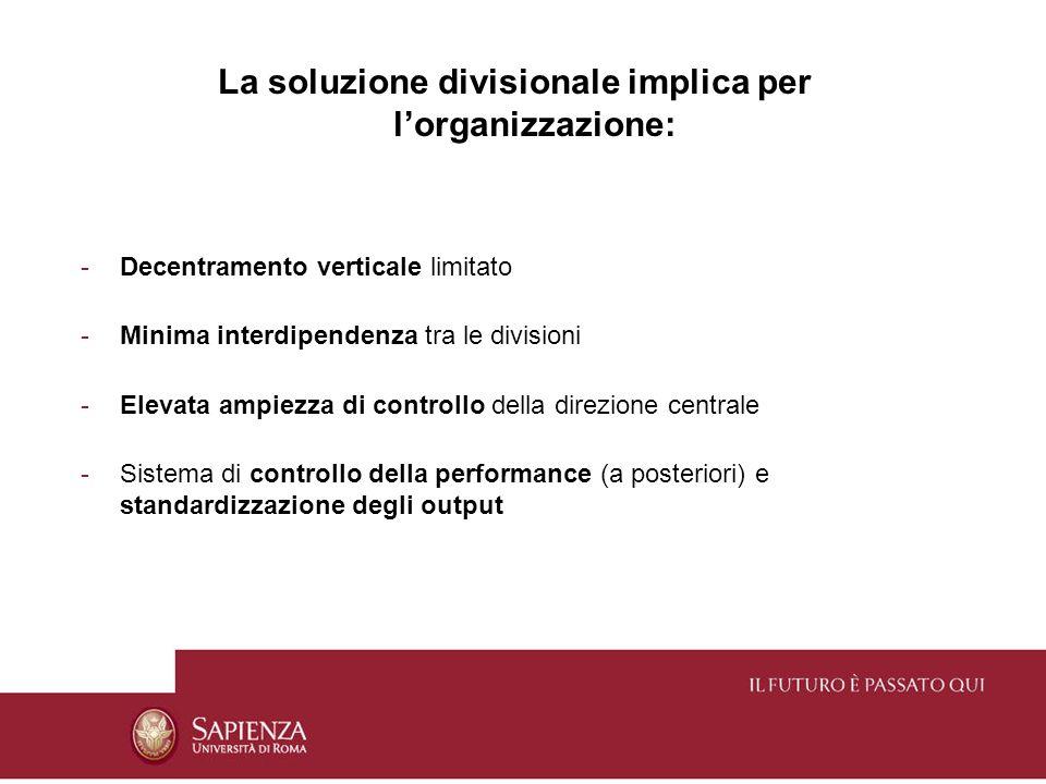 La soluzione divisionale implica per lorganizzazione: -Decentramento verticale limitato -Minima interdipendenza tra le divisioni -Elevata ampiezza di